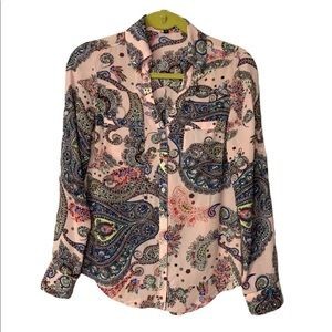 Express sheer paisley button front top